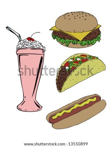 summer food group vector - stock vector