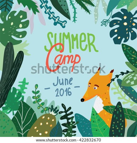 Summer forest camp banner or placard, background with nature and trees. Funny vector design illustration