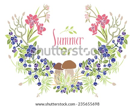 Summer Frame of mushrooms and blueberries - stock vector