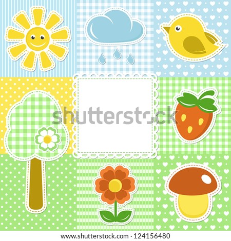 Summer frame with flower, strawberry, sun and bird on textile background - stock vector