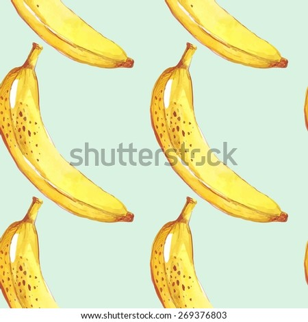 Summer fruit pattern. Watercolor banana pattern. Watercolor pattern for design, fabric labels for jam, cream.