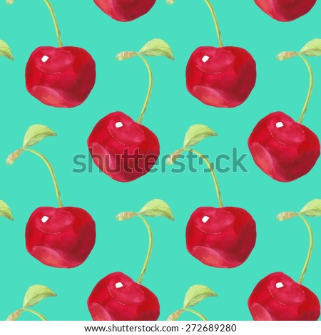 Summer fruit pattern. Watercolor cherry pattern. Watercolor pattern for design, fabric labels for jam, cream.