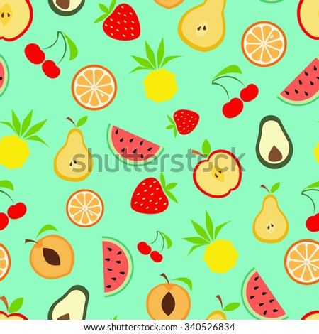 Summer fruits, Seamless colorful pattern with fruits, flat design