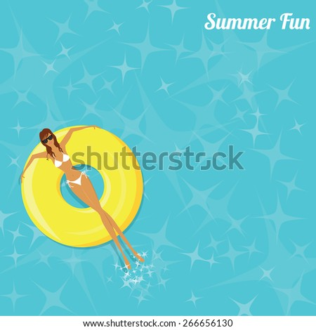 Summer Fun - Woman Sunbathing in the Swimming Pool - Vector eps10 - stock vector