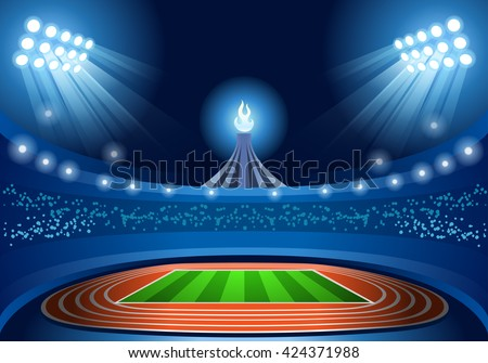 Summer Games Brasil 2016. Stadium Background Nocturnal View. Flat Brazil Overture Ceremony Event Athletes on Torch Background. olympics Sport Stadium Summer Games Athletics Arena Vector Illustration