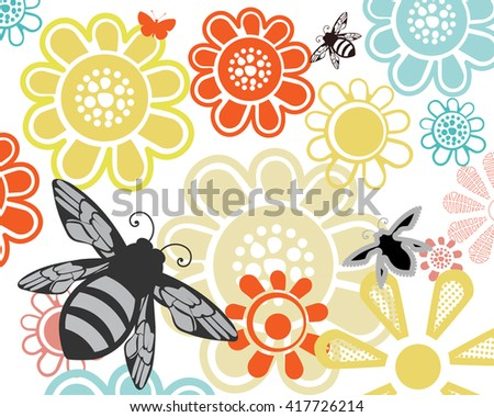 Summer garden flowers with bees  - stock vector