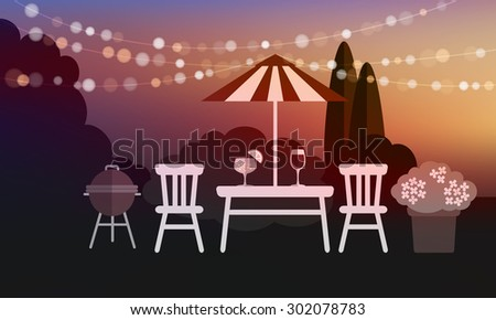 Summer garden party barbecue background, sunset vector illustration