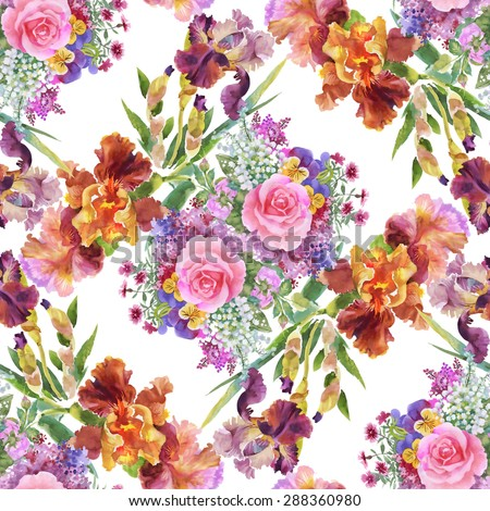 Summer garden roses and iris flowers watercolor seamless pattern on white background vector illustration - stock vector