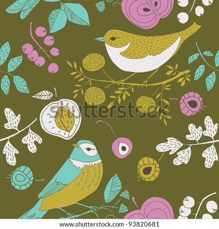 summer garden with birds - stock vector