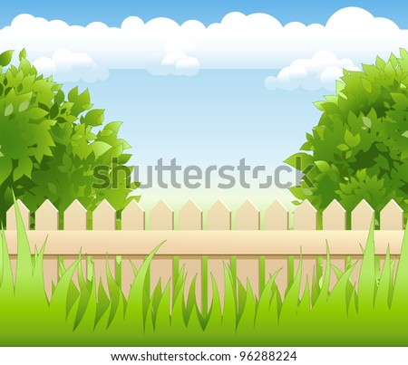 summer garden with tree and wooden railing - stock vector