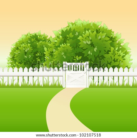 summer garden with tree, wicket and light railing - stock vector