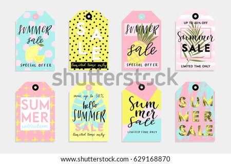 Summer Gift Tags Labels Fun Elements Stock Vector 437075911 ...