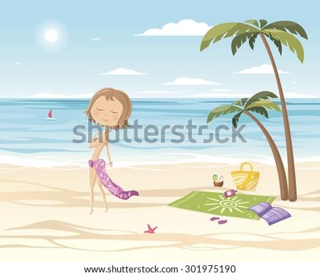 Summer. Girl on the beach. - stock vector