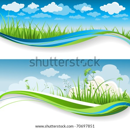 Summer grass banners - stock vector