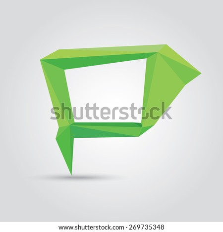 summer green Conceptual polygonal geometric speech bubble. Abstract vector Illustration, low poly style paper. Stylized design element. Background design for banner, poster, flyer, cover, brochure. - stock vector