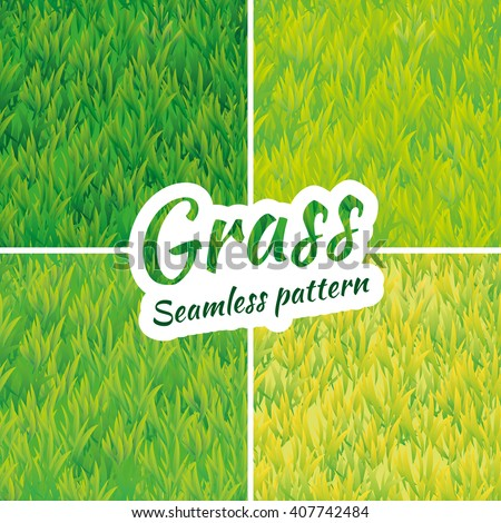 Summer green grass texture. Summer pattern background. Summer banner. Grass texture background. Grass seamless pattern vector for design. Green grass seamless pattern web, card, banner, spring, summer - stock vector