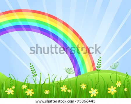 Summer Green Meadow with Yellow flowers. Landscape with Rainbow. Vector illustration.