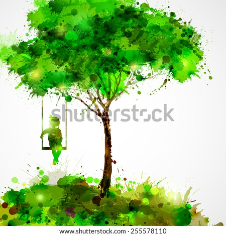 Summer green tree. Dreaming girl on swing. - stock vector