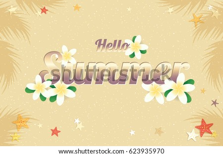 Summer greeting season with Plumeria Flowers or Summer floral Design