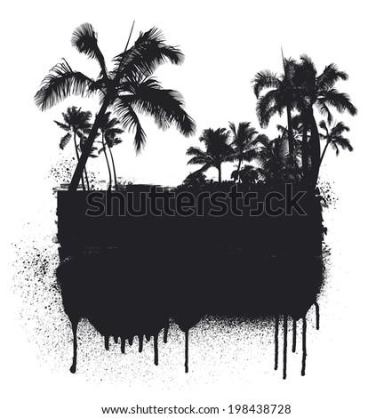 summer grunge inky black banner - stock vector
