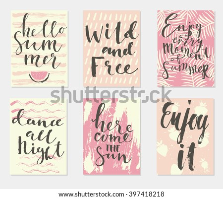 Summer hand drawn calligraphic card set. Vector illustration. A set of flyers, brochures, templates design. Vintage cards with lettering, patterns and ornaments.  - stock vector