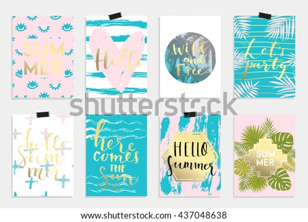 Summer hand drawn calligraphyc card set. Vector collection of bright pink blue gold summer cards. Beautiful summer posters with pineapple, banana, palm leaves and hand written text. Journal cards - stock vector