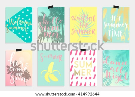 Summer hand drawn calligraphyc card set. Vector collection of bright summer cards. Beautiful summer posters with pineapple, banana, palm leaves and hand written text.  Journal cards  - stock vector