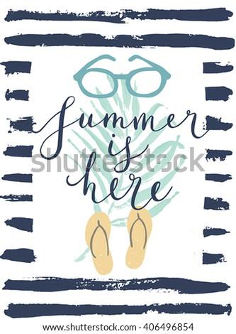 Summer hand drawn calligraphyc card. Vector illustration. - stock vector