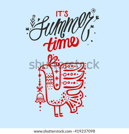 Summer hand drawn vector illustration with bird for post card or poster or t-shirt design. Colorful bright sketch illustration. It's summer time. - stock vector