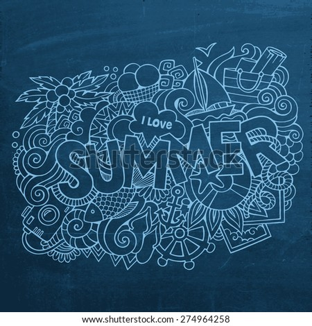 Summer hand lettering and doodles elements. Vector chalkboard illustration