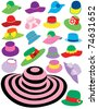 Summer hats - stock vector