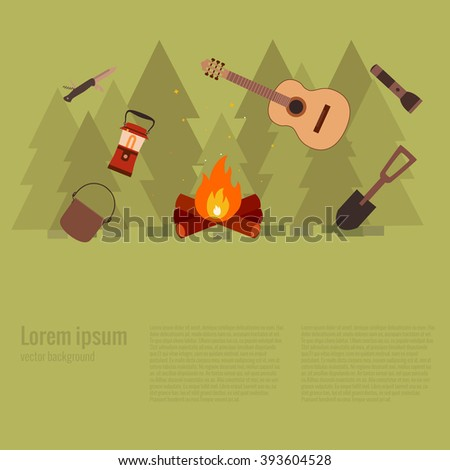 Summer hiking camp concept. Vector illustration of hiking background. Poster with hiking concept made in flat style. Summer hiking icons set: backpack, compass, flashlight. Summer hiking adventure. - stock vector