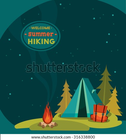 Summer hiking - vector illustration with blue tent, backpack and campfire on a night starry sky background. - stock vector
