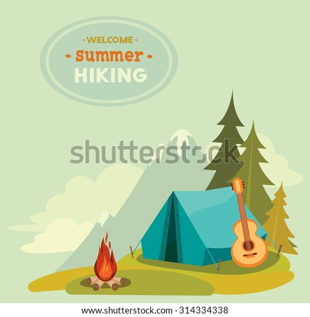 Summer hiking - vector illustration with blue tent, guitar and campfire on a green grass on mountain background. - stock vector