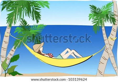 Summer Holiday and Happy Travel background with blue sky and water - stock vector