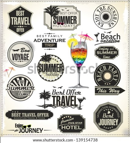 Summer holiday and travel time retro Label - stock vector