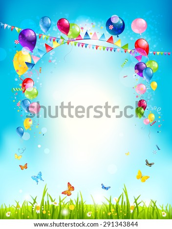Summer holiday background with balloons and flags for advertising, leaflet, cards, invitation and so on. Copy space. - stock vector