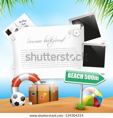 Summer holiday - background with copyspace - stock vector