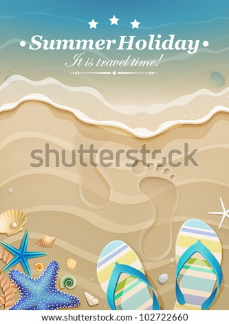 Summer holiday background with footprints in sand. Vector illustration. - stock vector
