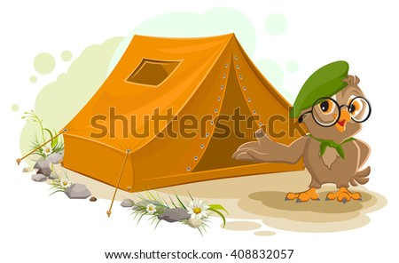 Summer holiday camp. Scout owl standing near tent