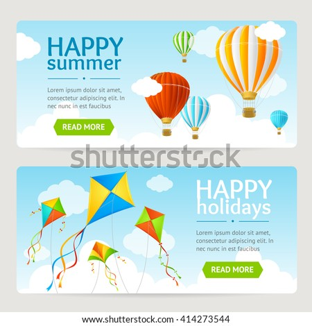 Summer Holiday Card Set with Kite and Balloon. Horizontal. Vector illustration - stock vector