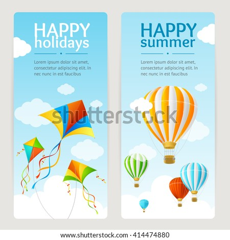 Summer Holiday Card Set with Kite and Balloon. Vertical. Vector illustration - stock vector