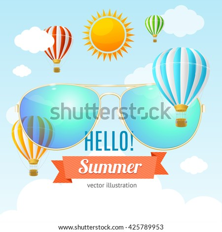 Summer Holiday Card. Travel Advertisement. Vector Illustration