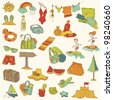 Summer holiday doodle collection - hand drawn in vector - stock vector