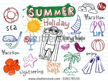 Summer holiday doodles - stock vector