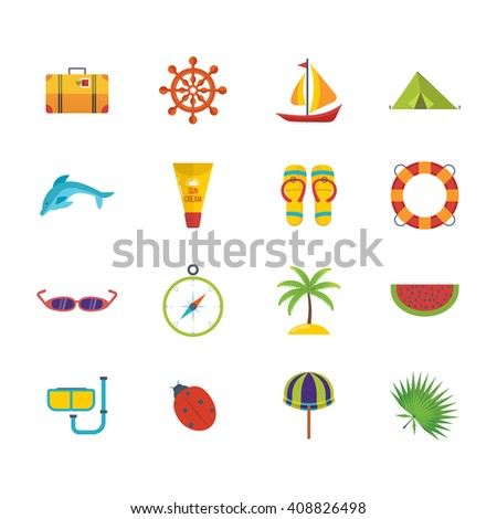 Summer holiday flat icons set. Lets travel. Illustration with travel, tourism and summer relaxation