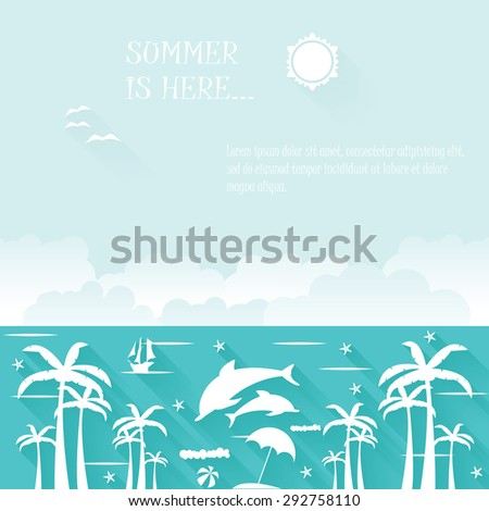 Summer holiday flat tropical vector elements  - stock vector