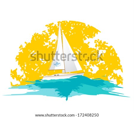 Summer holiday icon with sun and boat - stock vector
