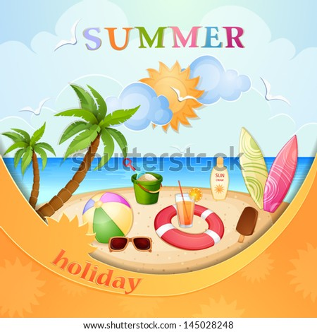 Summer holiday illustration - stock vector