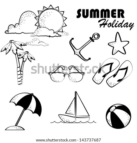 summer holiday over white background vector illustration